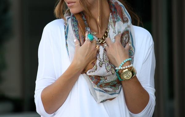 bohemian necklace, neckline, paisley, tan