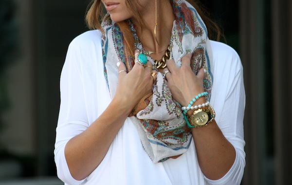 bohemian necklace, neckline, paisley, tan