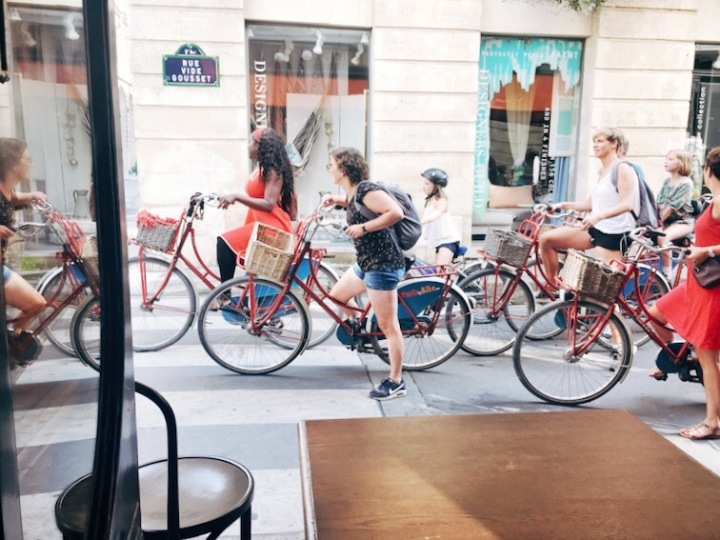 Tour group, bicycle, Paris, tour guide