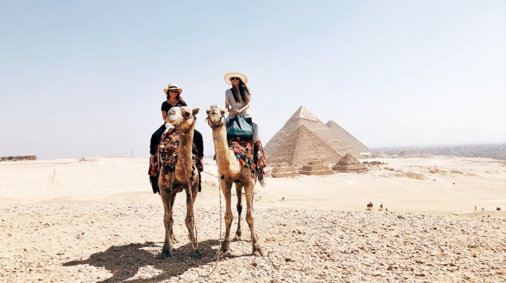 Best friends, besties, travel, Egypt, pyramids, camel ride