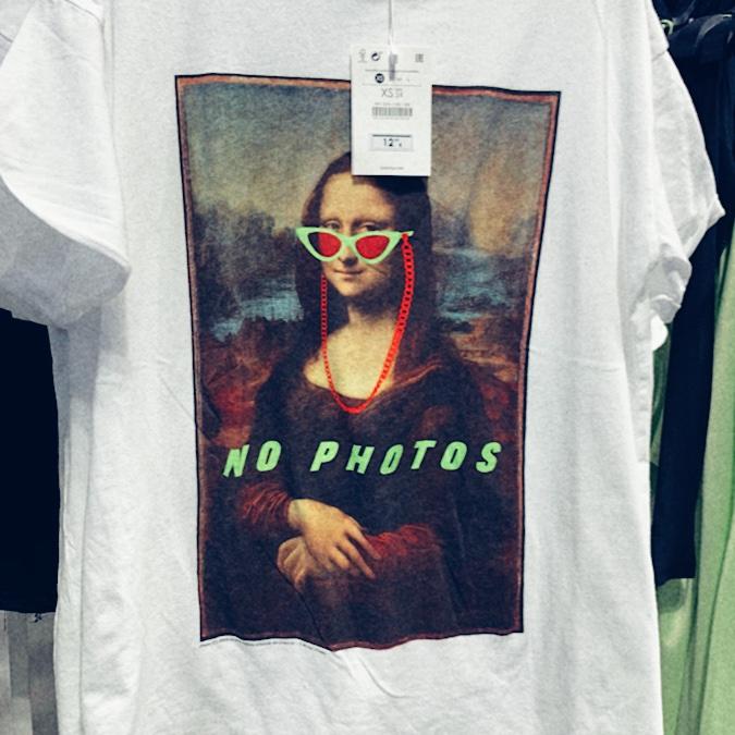 Mona Lisa t-shirt, sunglasses, bershka, meme, social commentary
